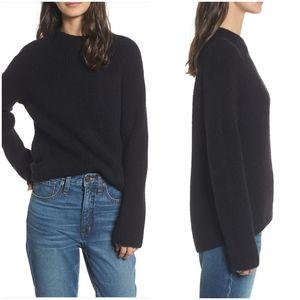Madewell Black Northfield Mock Neck Wool Sweater M